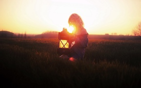 Picture field, girl, light, mood, lamp
