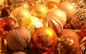 Picture balls, gold plated, New Year, Christmas decorations
