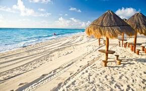 Picture sand, beach, the ocean, umbrellas