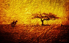 Picture abstraction, gold, tree, warrior, tree, monolith, warrior, Gold, epic, monolit