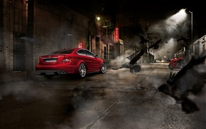 Picture night, crows, Mercedes, sportbike, Mercedes Benz C63