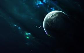 Picture stars, light, nebula, planet, satellites