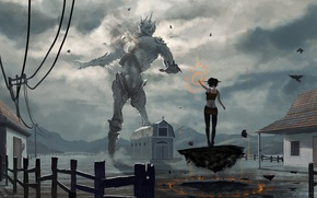 Wallpaper fiction, art, giant, against, witches, giant vs witch, by du1l