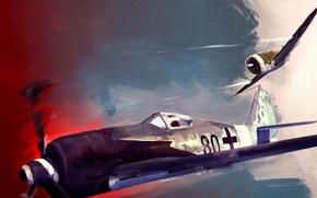 Picture the sky, war, fighter, battle, shooting, Art, American, Thunderbolt, German, piston, single-engine, Focke-Wulf, WW2, Republic, ...