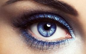 Picture look, blue, eyes, eyelashes, mascara, eyebrow