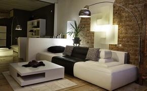 Picture design, style, room, sofa, black and white, lamp, interior, apartment