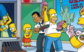 Picture cartoon, cartoon, the simpsons, Homer, the trick, Bart, the simpsons, Lisa, Comedy