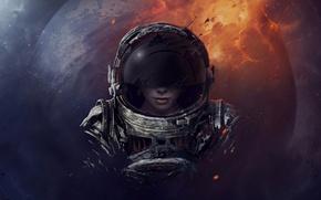 Picture girl, space, planet, helmet, astronaut