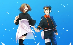 Wallpaper naruto, anime, Upholstered Uchiha, together, Rin Nohara, are kept in hand, art