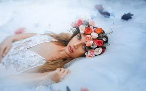 Wallpaper flowers, look, wreath, girl