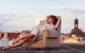 Picture girl, dress, legs, style, photo, sunset, model, chair, brunette, Caprice, Little Caprice, elegant, sitting, portrait, …