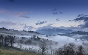 Wallpaper autumn, the sky, clouds, mountains, fog, house