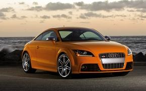 Picture sea, sunset, orange, Audi