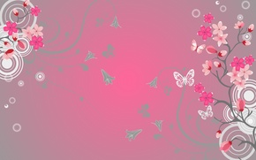 Wallpaper flowers, butterfly, background