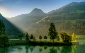Picture greens, the sky, the sun, rays, light, trees, landscape, river, sunrise, hills, blue, Mountains, cloudless