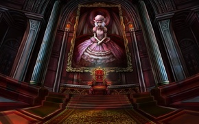 Picture picture, anime, art, vampire, hall, the throne, Palace, remilia scarlet, Remilia Scarlet