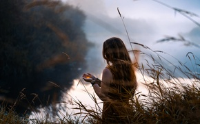 Picture girl, river, candle, morning, Lizzy Gadd, Lightkeeper