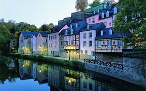 Picture water, trees, landscape, reflection, beauty, roof, lights, houses, Luxembourg