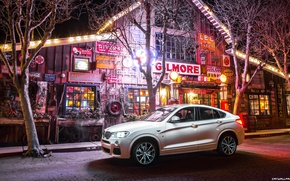 Picture house, Night, USA, shop, BMW-X4-M40i