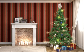 Picture Design, New Year, Tree, Fireplace, Interior, Gifts, Garland