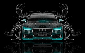 Picture Audi, Water, Design, Black, Audi, Neon, Machine, Style, Wallpaper, Background, Water, Car, Art, Art, Photoshop, ...