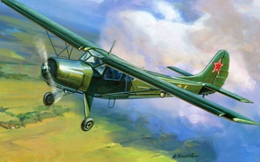 Picture the plane, easy, art, BBC, multipurpose, transport, Yak-12, Of the Soviet Union.