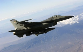 Picture the sky, clouds, flight, mountains, F-16