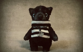 Picture Toy, Teddy bear, handmade, striped shirt