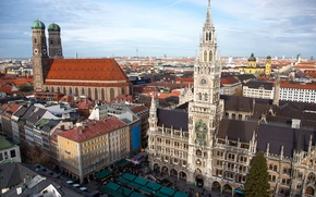 Picture the sky, tower, home, Germany, Munich, area, Church, panorama, Marienplatz, new town hall