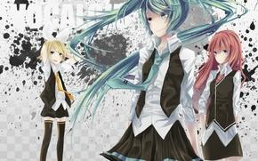 Picture girls, tie, form, vocaloid, megurine luka, kagamine rin, Vocaloid, Miku Hatsune