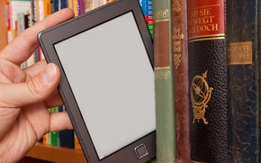 Picture hand, books, library, Tablet, bookstore