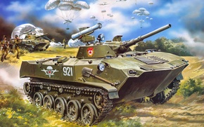 Wallpaper figure, USSR, Airborne, Marines, BMD-1, airborne combat vehicle