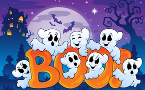 Picture Halloween, bats, halloween, bats, full moon, full moon, vector graphics, spooky house, funny ghosts, funny ...