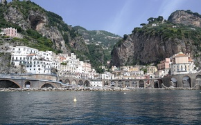 Picture sea, mountains, home, Italy, Atrani