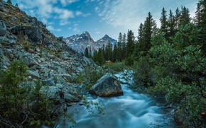 Wallpaper landscape, mountains, nature, house, river