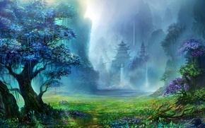 Picture grass, mountains, Forest, temple, waterfalls