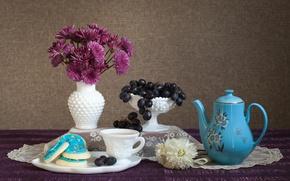 Wallpaper flowers, still life, grapes, chrysanthemum, cookies, coffee