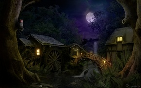 Picture forest, night, bridge, house, waterfall