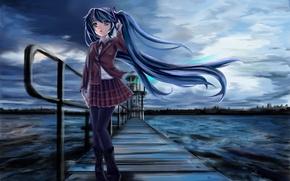 Picture cold, sea, girl, bridge, the darkness, lighthouse, vocaloid, hatsune miku, school uniform, Vocaloid, art, edogawakid