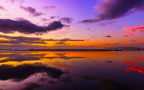Picture the sky, water, clouds, reflection, paint, glow
