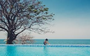 Wallpaper sea, girl, tree, the ocean, pool, sitting, curls, curls