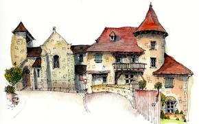 Picture the city, house, paint, figure, France, art, Curemonte