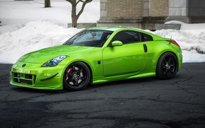 Picture green, tuning, Nissan, Nissan, 350z, stance
