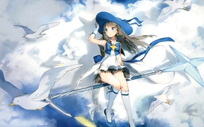 Picture the sky, clouds, flight, magic, seagulls, hat, gloves, knee, bow, rod, art, Houkago in the …