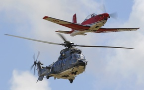 Picture the plane, AS 332, Super Puma, training, transport helicopter, PC-7