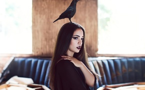 Picture girl, makeup, crow
