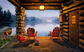 Picture mountains, lake, house, boat, picture, the evening, pier, painting, painting