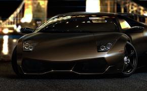 Picture glare, night lights, Lamborghini, Lamborghini, Murcielago, front, LP670-4, Lamborghini, murciélago, Jackdarton