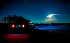 Picture night, the moon, mercedes, mercedes-benz, Mercedes, gelding, Mercedes, benz, 190, w201, 190e