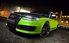 Picture Audi, Green, Glow, Black, Lights, Night, Tuning, Vilner, Rims, RS6
